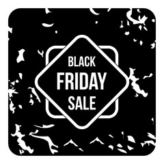 Black friday sale tag icon, grunge style