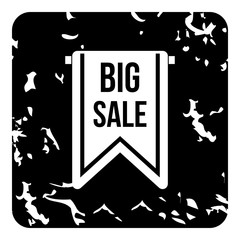 Big sale tag icon, grunge style