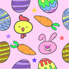 Collection of easter style colorful doodles