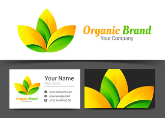 Fresh Organic Corporate Logo and business card sign template. Creative design with colorful logotype visual identity composition made of multicolored element. Vector illustration