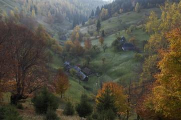 Rural landscape in Magura, Piatra Craiului National Park, Transylvania, Southern Carpathian Mountains, Romania, October 2008