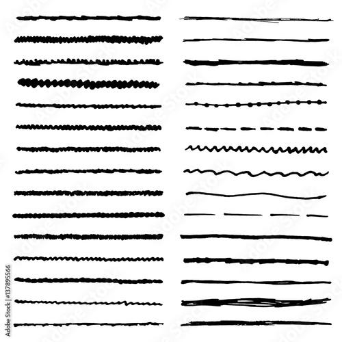 Vector Drawing Straight Lines : Quot wavy curly dotted straight and zigzag hand drawing