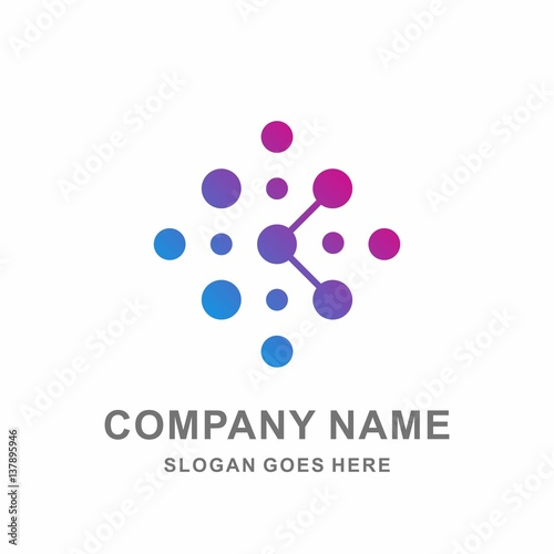 Star Cross Circle Dots Growth Digital Link Connection Technology Computer Business Company Stock Vector Logo Design
