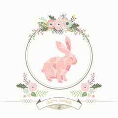 Floral Geometric Bunny Easter Card
