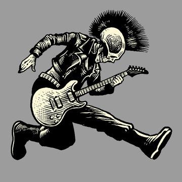 skull punk style guitarist