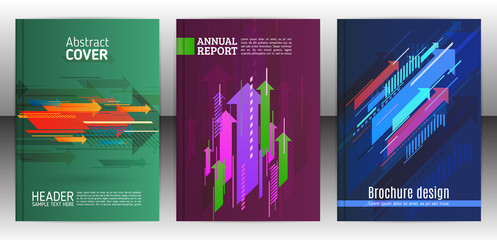 Abstract arrows vector brochure template. Flyer with arrows, stripes motion and dynamics. Cover layout with flat style. Modern design for poster and banner. Annual report design templates. Vector eps