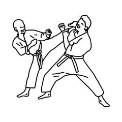 karate athletes - vector illustration sketch hand drawn with black lines, isolated on white background