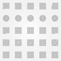 Maze outline icons set