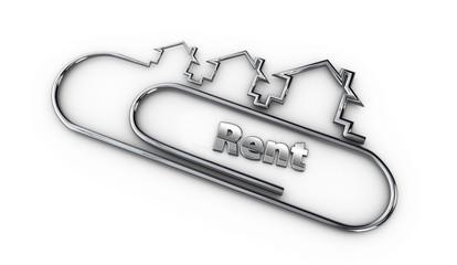 silver 3d modern design logo with rent word 3d illustration