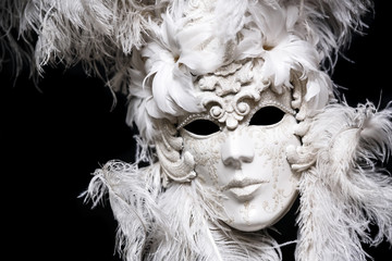Luxury white festival masquarade mask.