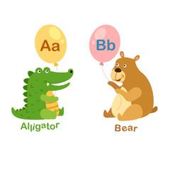 Illustration Isolated Alphabet Letter A-alligator,B-bear
