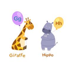 Illustration Isolated Alphabet Letter G-giraffe,H-hippo