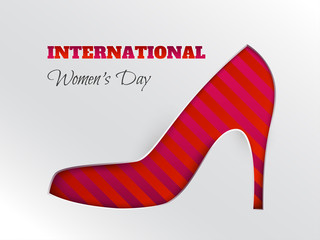 Vector illustration of International women's day, 8 March holiday greeting card with cuted silhouette of shoe on striped pink red background. Layers are isolated