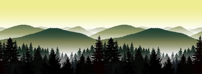 Foto op Aluminium Zwavel geel Seamless landscape. Panorama of mountains. A fog. Green and yellow tones.