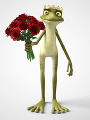 3D rendering of romantic cartoon frog prince holding a bouquet of red roses.