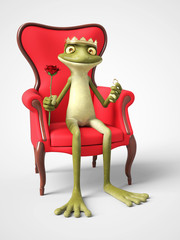 3D rendering of romantic cartoon frog prince proposing.