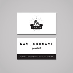 Donations and charity business card design. Hands & ribbon logo.