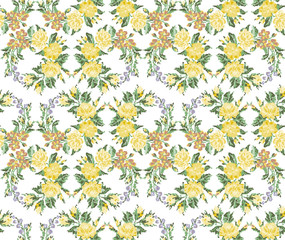 Wallpapers or textile. Color circle  bouquet of flowers (roses, chamomile and cornflowers) using Ukrainian embroidery elements. Green and yellow tones. Seamless. Pattern. Can be used as pixel-art.