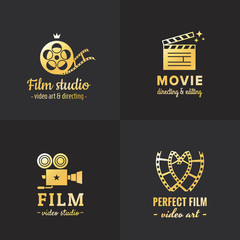 Film, movie and video logo vintage vector set. Part one.