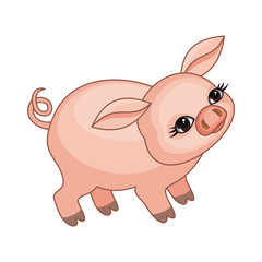 The vector image of a ridiculous pig in cartoon style isolated on a white background.