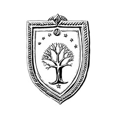Vector hand drawn shield with tree and star