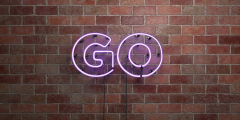 GO - fluorescent Neon tube Sign on brickwork - Front view - 3D rendered royalty free stock picture. Can be used for online banner ads and direct mailers.. Fototapete