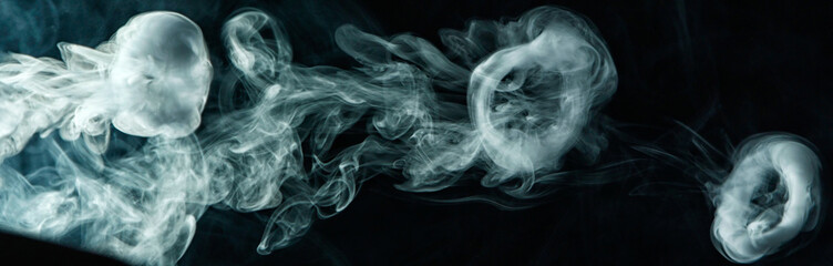 Fototapeten Rauch Vape trick smoke ring on dark background