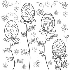 Doodle of easter style with egg
