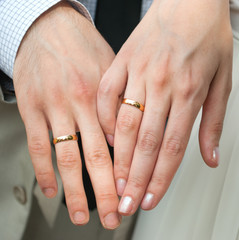 Hand of man and woman, with rings