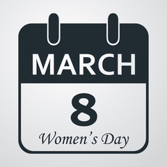 Icono plano calendario Women's Day en fondo degradado