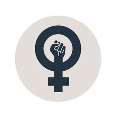 Icono plano simbolo feminismo con puño en circulo gris