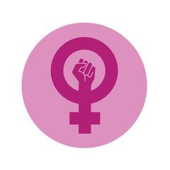 Icono plano simbolo feminismo con puño en circulo violeta