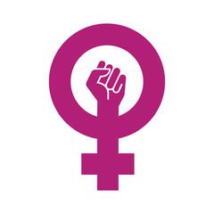 Icono plano simbolo feminismo con puño en fondo blanco