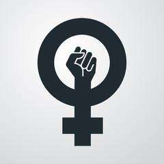 Icono plano simbolo feminismo con puño en fondo degradado