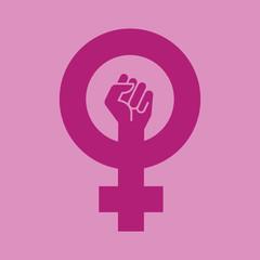 Icono plano simbolo feminismo con puño en fondo violeta