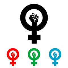 Icono plano simbolo feminismo con puño varios colores