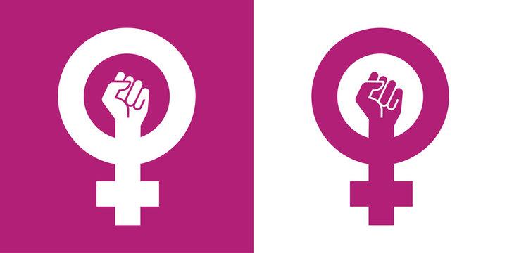 Icono plano simbolo feminismo con puño violeta y blanco