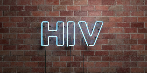 HIV - fluorescent Neon tube Sign on brickwork - Front view - 3D rendered royalty free stock picture. Can be used for online banner ads and direct mailers..