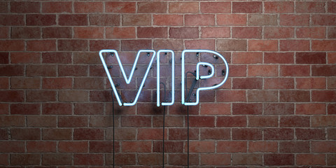 VIP - fluorescent Neon tube Sign on brickwork - Front view - 3D rendered royalty free stock picture. Can be used for online banner ads and direct mailers..