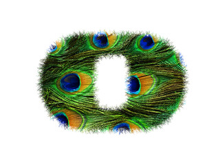 High resolution font number 0 made of peacock feathers pattern isolated on white background
