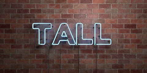 TALL - fluorescent Neon tube Sign on brickwork - Front view - 3D rendered royalty free stock picture. Can be used for online banner ads and direct mailers.. Wall mural