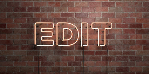 EDIT - fluorescent Neon tube Sign on brickwork - Front view - 3D rendered royalty free stock picture. Can be used for online banner ads and direct mailers..