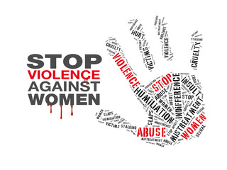 "a cloud word with text ""stop violence against women"""
