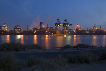 Port at night, Grande-Synthe, Dunkirk, France, September 2010