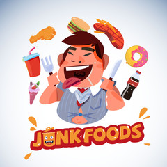 fat business with junk food. unhealthy food concept - vector illustration