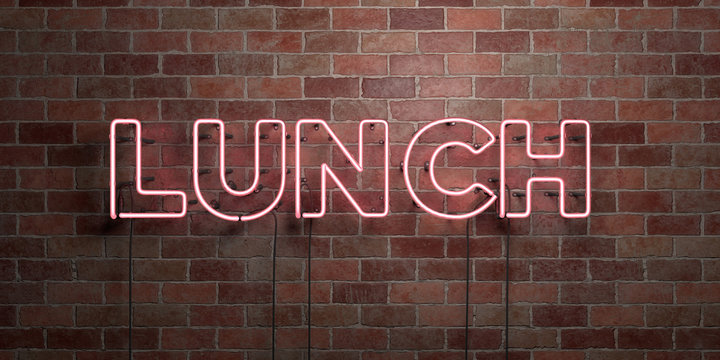 LUNCH - fluorescent Neon tube Sign on brickwork - Front view - 3D rendered royalty free stock picture. Can be used for online banner ads and direct mailers..