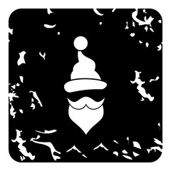 Hat and beard of Santa Claus icon, grunge style
