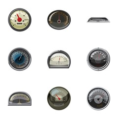 Types of speedometers icons set, cartoon style