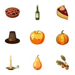 Thanksgiving feast icons set, cartoon style