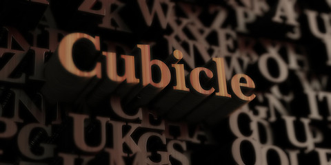 cubicle - Wooden 3D rendered letters/message.  Can be used for an online banner ad or a print postcard.